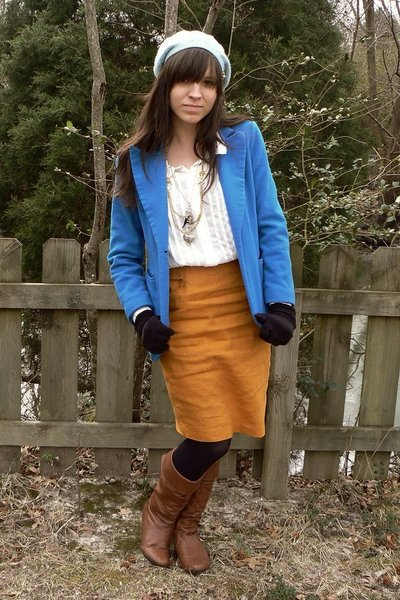 blue thrifted blazer - white thrifted blouse - gold thrifted skirt - black HUE t