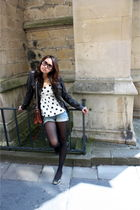 black DKNY jacket - random brand purse - random brand shorts - Newlook top - bla