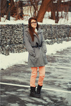 black ruched Forever21 blazer - dark gray combat boots taxi boots