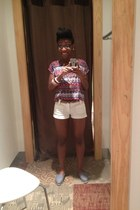 periwinkle toms shoes - white shorts - pink multicolored blouse