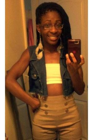 mustard shorts - blue jean vest - white bra