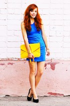 blue vjstyle dress - light yellow vjstyle bag