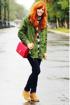 red Sheinside bag - olive green Sheinside coat