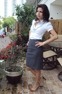 White-banana-republic-shirt-silver-banana-republic-skirt