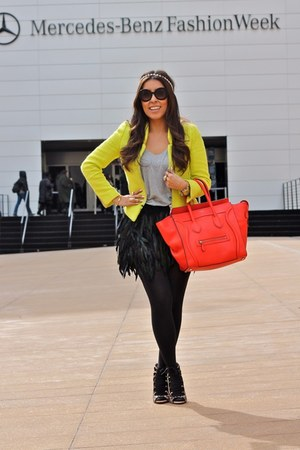 romwe skirt - Zara shoes - Zara blazer - Forever 21 tights - Celine bag