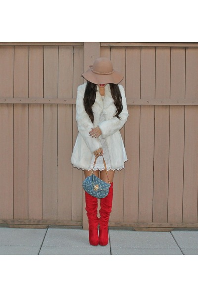 Charlotte Russe boots - H&amp;M dress - Bebe jacket - Louis Vuitton bag