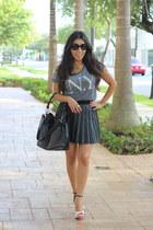 Forever 21 skirt - Burberry bag - Topshop pumps - Topshop top