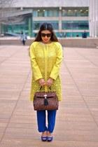 blue milly pants - blue Aldo shoes - mustard rachel roy coat - brown Aldo bag