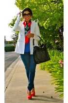 blue Rich & Skinny jeans - white Zara blazer - red American Apparel scarf