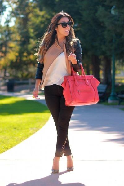 nude romwe jacket - carrot orange Celine bag - black Zara pants