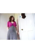 gray H&M dress - pink Marks and Spencers cardigan - black River Island vest