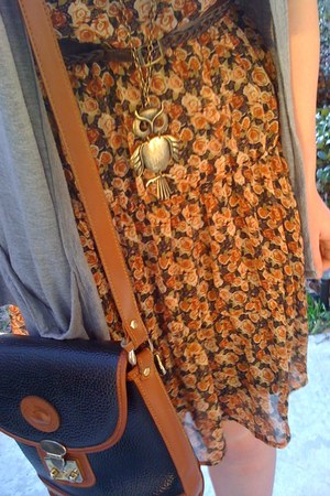 bronze dress - dark brown belt