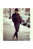 Old Navy jeans - Target hat - vintage jacket - Steve Madden heels