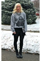 Forever 21 boots - DIY bag - Etsy sweatshirt - Zara skirt