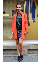 faux leather Zara dress - orange Zara coat