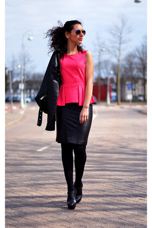 peplum-suede H&amp;M top - leather Zara skirt