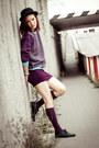 Black-h-m-shoes-black-h-m-hat-purple-second-hand-sweater