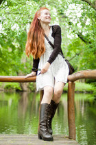 dark brown vintage boots - off white old dress