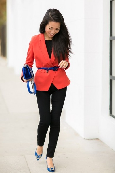 blue bag - coral blazer - blue flats - black pants - navy belt
