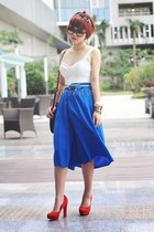 blue skirt - crimson bag - white top - red heels