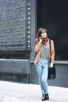 black bag - black boots - nude blazer - chartreuse shirt
