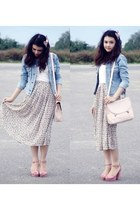 off white floral skirt skirt - light blue denim blazer - ivory bag