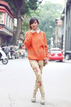 orange sweater - cream pants