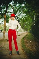 red hat - ivory blouse - red pants