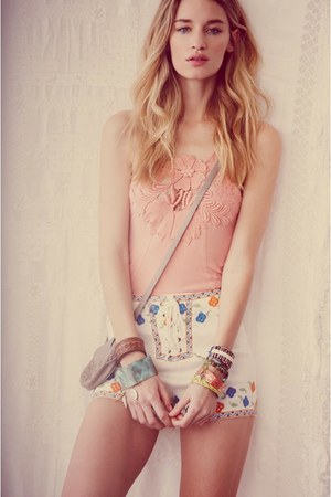 white shorts - light pink top - brown bangles bracelet