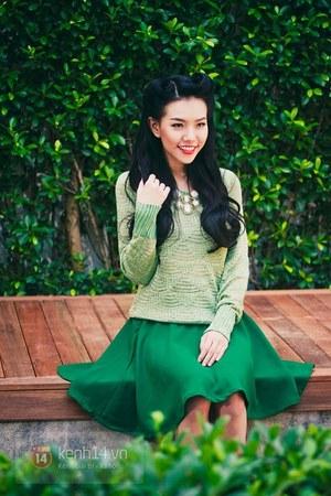 green skirt - lime green sweater