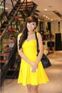 Yellow-dress-camel-belt