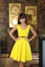 Yellow-dress-camel-belt