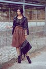 Black-boots-black-jacket-black-bag-brown-skirt-dark-gray-top