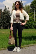ivory Celine belt - white H&M jacket - camel longchamp bag - tan H&M t-shirt