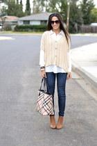 tan knit Casablanca sweater - navy moto Joes Jeans jeans