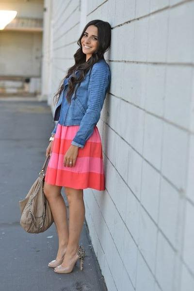 blue motorcycle Forever 21 jacket - hot pink striped v-neck Skies are blue dress