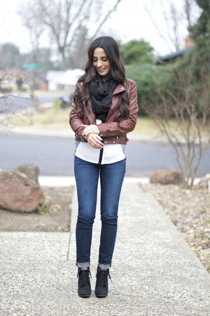 brown moto jacket 548 jacket - black wedged booties Target boots