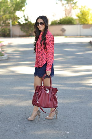 coral heart print Forever 21 blouse - crimson hamilton tote Michael Kors bag