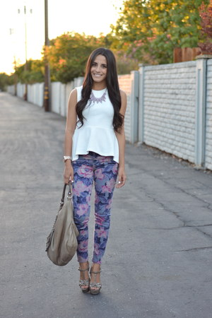 white peplum H&amp;M top - amethyst floral joes jeans - tan t strap unknown sandals
