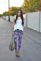 white peplum H&M top - amethyst floral joes jeans - tan t strap unknown sandals