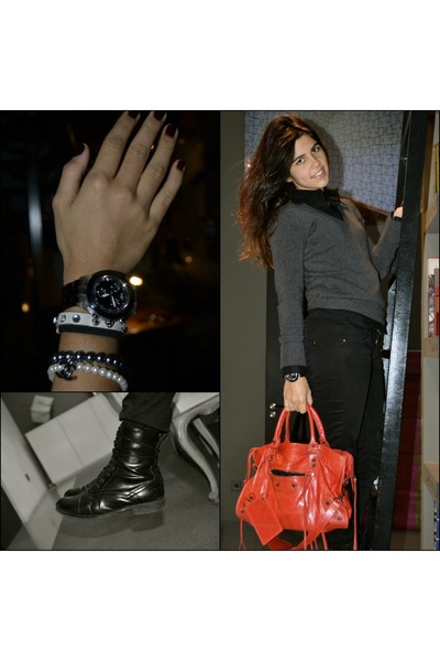red balenciaga bag - black River Island boots - black Zara jeans