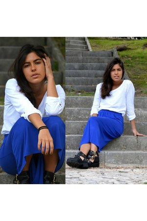 blue maxi skirt Primark skirt - black Office boots - white Zara t-shirt