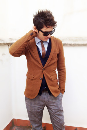 vintage tie el corte ingles tie - Zara blazer - Zara shirt - COS cardigan