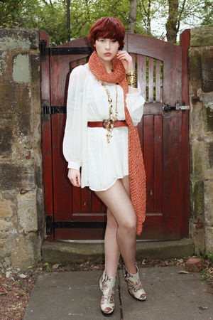 white Kurt Geiger shoes - white Topshop dress - orange H&M scarf