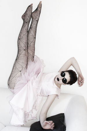 black Claires Accessories sunglasses - black Topshopp tights - pink vintage dres