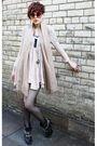 Pink-topshop-dress-beige-vintage-scarf-black-kurt-geiger-boots