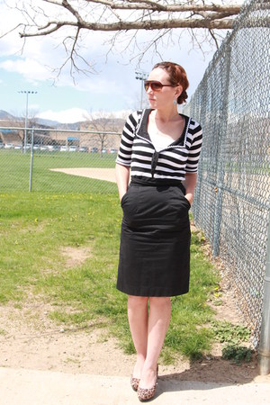 white thrifted shirt - black pencil thrifted skirt