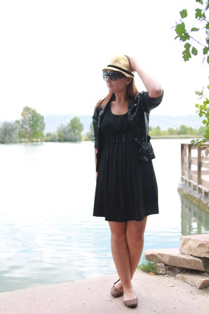 gold cloche thrifted hat - black thrifted dress - black sequined thrifted blazer