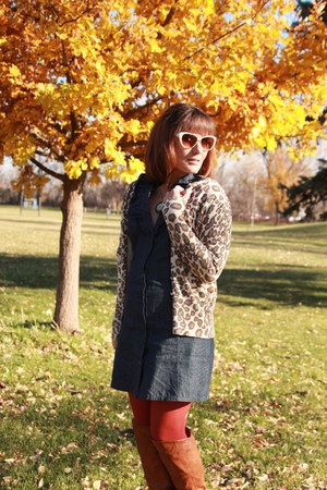 tawny otk Charlotte Russe boots - navy chambray thrifted dress