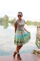 tan gifted shirt - tawny Forever 21 boots - sky blue watercolor gifted skirt